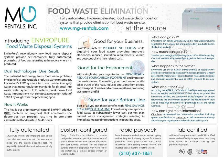 Food Waste Elimination Rental Equipment