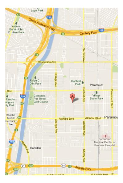 Map to MG Rentals, Paramount CA